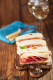 Cured Meat jamon sausage and ciabatta bread Royalty Free Stock Images