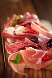 Cured Meat jamon sausage and ciabatta bread Stock Photography