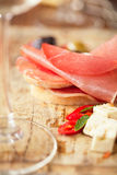 Cured Meat jamon sausage and ciabatta bread Stock Photos