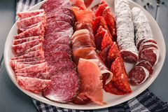Cured meat platter royalty free stock photography
