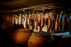 Cured meat products royalty free stock photos
