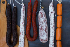 Cured meat and sausages Royalty Free Stock Photography