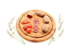 Cured meats with tomatoes lavender Royalty Free Stock Image