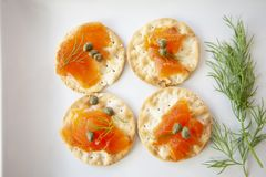 Cured Salmon appetizer plate with capers and dill stock photos