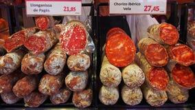 Cured Sausages, Saint Joseph market, Barcelona Royalty Free Stock Image