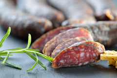 Cured sausages Stock Photography