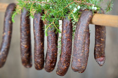 Cured sausages Royalty Free Stock Photos