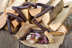Cured sausages Royalty Free Stock Image