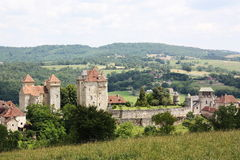 Curemonte, Limousin, France. The medieval village of Curemonte, Limousin, France is one of the official 152 Most Beautiful Villages of France and a popular Royalty Free Stock Photography