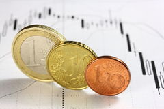 Curency diagram and euro coins. Curency diagram of EUR vs. USD and coins of euro and euro cents Royalty Free Stock Photos