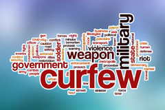 Curfew word cloud with abstract background Royalty Free Stock Photography