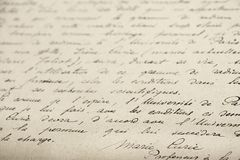 Curie handwritting photo stock