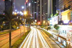 The  curing light trails on road Stock Photo