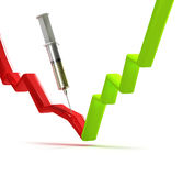 Curing the stock graph with injection of oil. On white background Stock Images