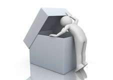 Curios man peeping into the package Royalty Free Stock Photo