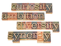 Curiosidad, ambición, diversidad y sinergia Fotos de archivo
