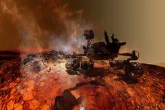 Curiosité Mars Rover explorant la surface de la planète rouge photographie stock