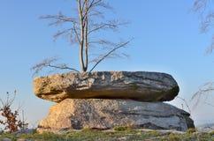 Curiosité naturelle, une table en pierre, Bohême du sud photo libre de droits