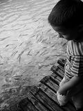 Curiosity. A child observing fish in Plitvicka National Park, Croatia Royalty Free Stock Photos