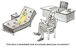 Curiosity. Business cartoon about learning about co-workers Stock Photo