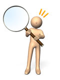 Curiosity. Character who had a large magnifying glass. He represents the interest and curiosity Royalty Free Stock Photography