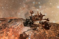 Curiosity Mars Rover exploring the surface planet of Mars vector illustration