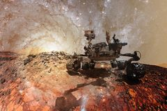Curiosity Mars Rover exploring the surface planet of Mars royalty free illustration