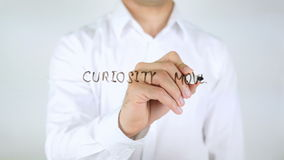 Curiosity Moves You Forward, Man Writing on Glass. 4k stock footage
