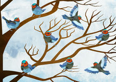 birds singing choir royalty free stock photo