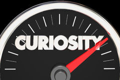 Curiosity Speedometer Curious Level Gauge Interest 3d Illustrati Royalty Free Stock Photography