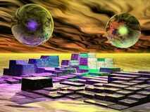 Curiosity. Surreal scene of spheres rock and sky Stock Photo