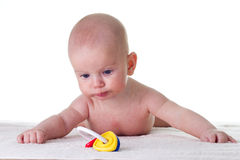 Curious baby. Vurious baby  looking at a toy Royalty Free Stock Image
