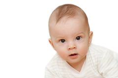Curious baby face. On white background Stock Photos