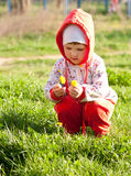 Curious baby girl examining flowers Royalty Free Stock Photos