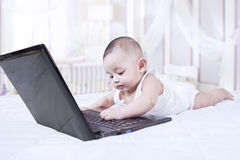 Curious baby playing with laptop Stock Images