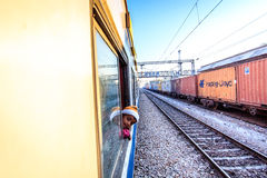 Curious boy on train Stock Image
