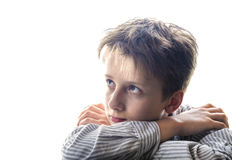 Curious boy on white background Stock Photos
