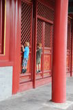 Curious boys in the Forbidden City Royalty Free Stock Image