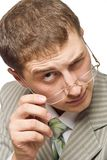 Curious businessman looking Royalty Free Stock Image