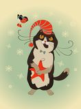 Curious cat and bullfinch celebrate Christmas. Vector curious cat and bullfinch celebrate Christmas Stock Images