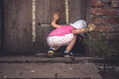 Free Curious Child Looking Into Dark Hole In Barn Door In Countryside Shed Concept Curiosity Stock Photography - 110234132