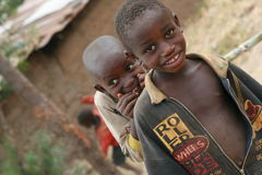 Curious Children of Africa. Children smiling , curious , Africa Burundi village, Great lakes region Royalty Free Stock Photography