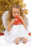Curious christmas angel. Over white Stock Photos