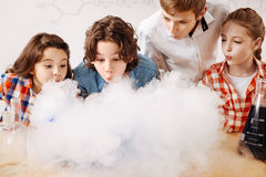 Curious clever children blowing on the chemical fume. Smart kids. Curious positive clever children standing together and leaning forward while blowing on the Royalty Free Stock Image