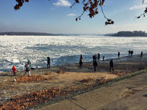 Curious crowd looking at the icebergs covering the vast Danube r Stock Photo