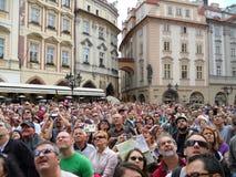Curious crowd. A crowd looking up at Staroměstské náměstí, waiting for the astronomical clock Royalty Free Stock Photo