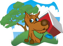 Curious Dog. Illustration of a dog in front of his house Royalty Free Stock Image