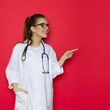 Curious Female Doctor Notice Stock Image