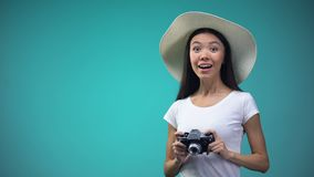 Curious female tourist in panama making photos of landmarks, vacation, tourism. Stock footage stock footage