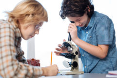 Curious future scientists exploring micro worlds Stock Images